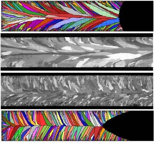 Структура зерна отливки: расчетная и в полученном слитк